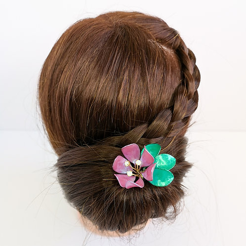 Pink flower with leaves and rhinestones hair stick - Handmade