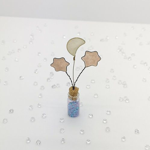 Sandy moon and copper stars, mini bottle