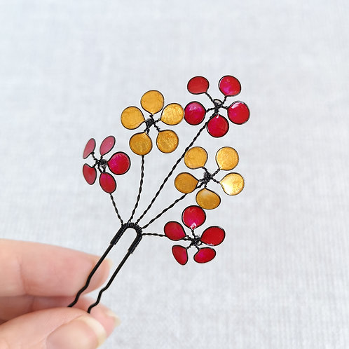 Floral bridal hair pin, red and gold
