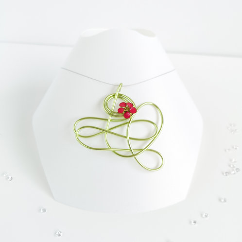 Wire and flower pendant - Green and bright pink
