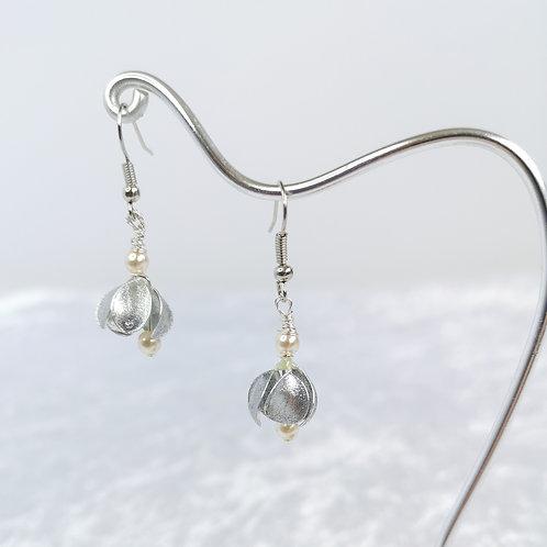 Silver crocus, handmade drop earrings
