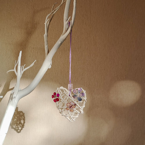 Love heart with flowers - hanging ornament