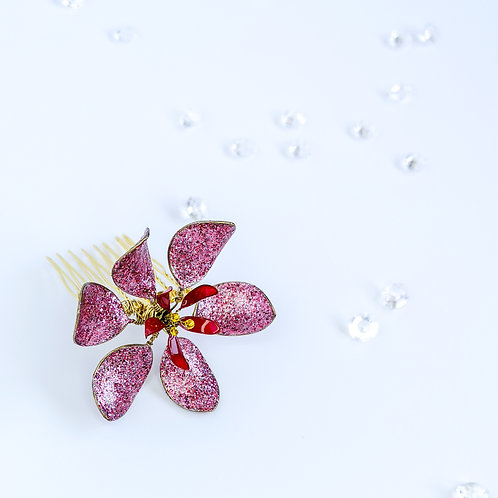 Bridal comb flower - Red and glitter