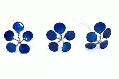 Royal blue and silver flower hairpins