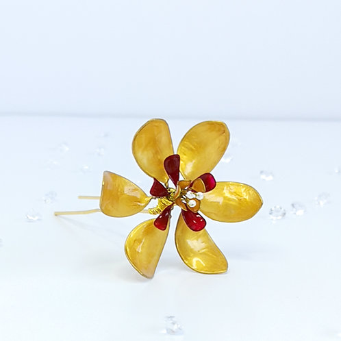 Gold and red flower hair pin - large flower