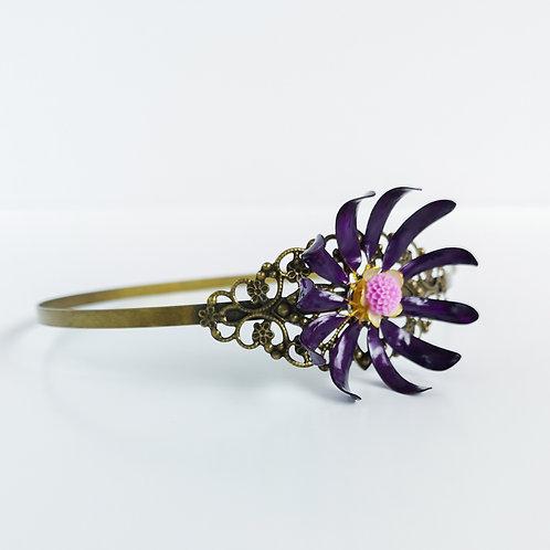 Handmade purple and ivory flowers tiara