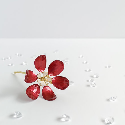 Red and white pearl flower handmade hair stick