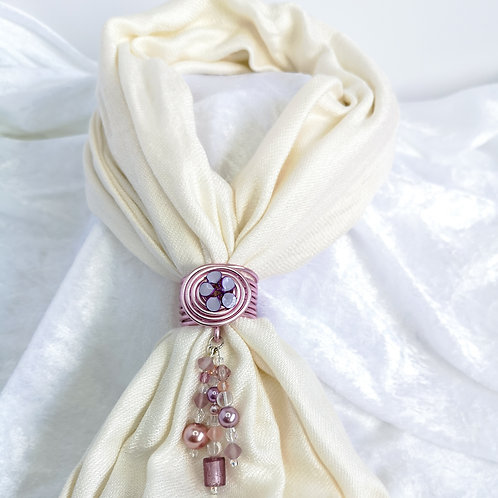 Pink scarf ring, handmade scarf jewel with lilac flower