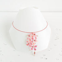 Orange and pink flower choker necklace