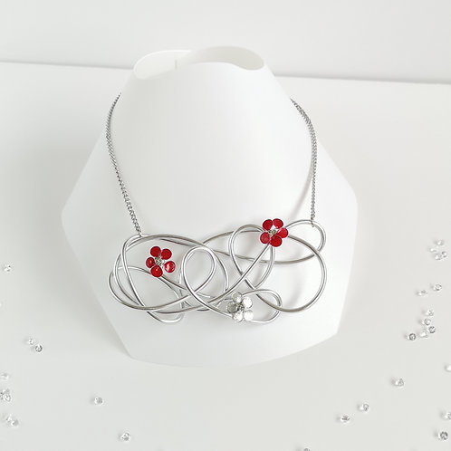 Wire and flower pendant - Silver and red