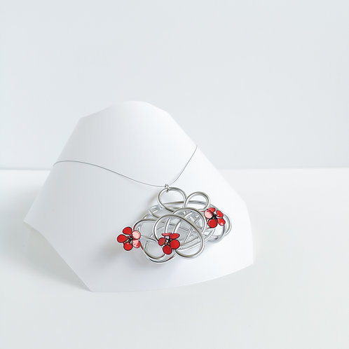 Wire and flower necklace - Silver and coral orange