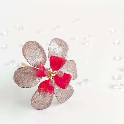 Metallic lilac and fuchsia flower hair stick
