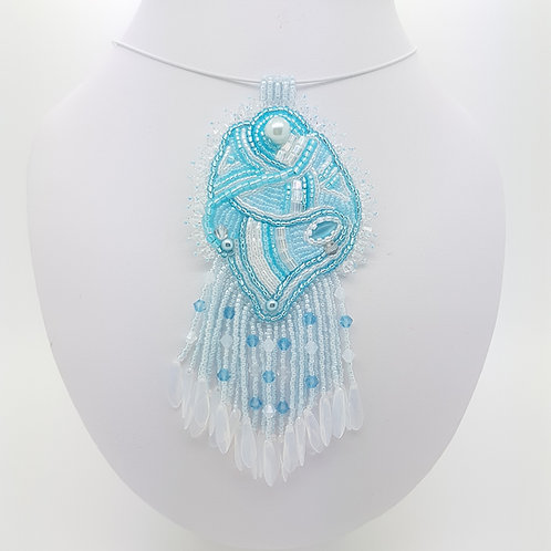 Blue sky and white crystal and bead embroidered pendant