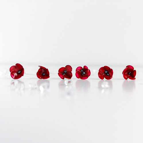 Red poppy hair pins