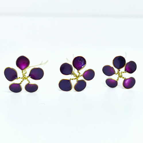 Purple and gold flowers hair pin
