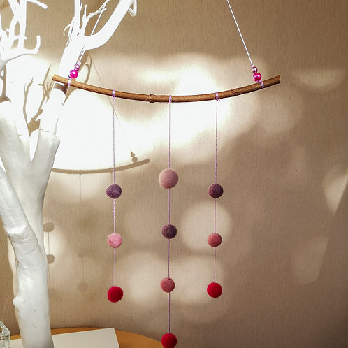 Felt ball wall hanging - Pink and lilac