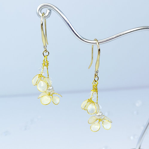 White flowers, gold drop earrings