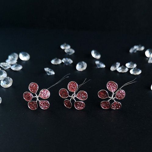 Red glitter and silver tiny flower hairpins