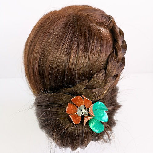 Copper and silver flower with green leaves hair stick