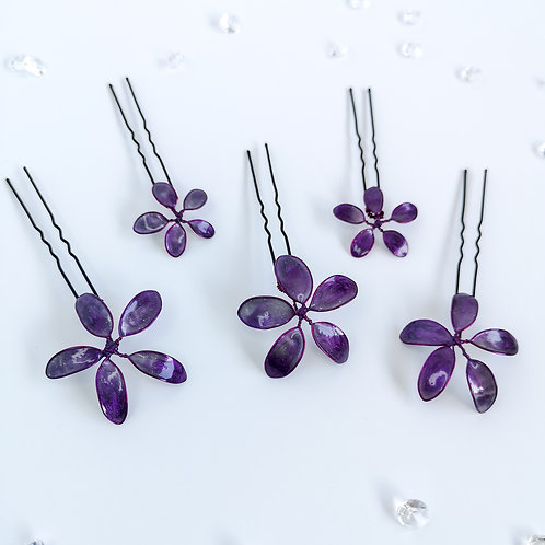 Set of 5 handmade flower hairpins