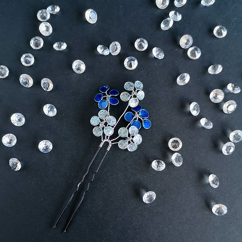 Floral bridal hair pin, blue and silver