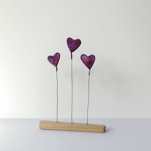 Wire and driftwood sculpture, 3 purple love hearts