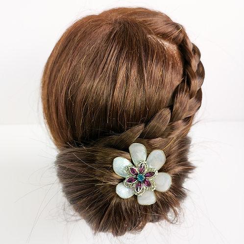 Pink pearl and Swarovski flower hair pin
