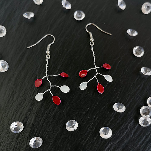 Red and white drop leaves silver earring