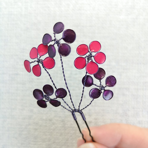 Floral bridal hair pin, pink and purple