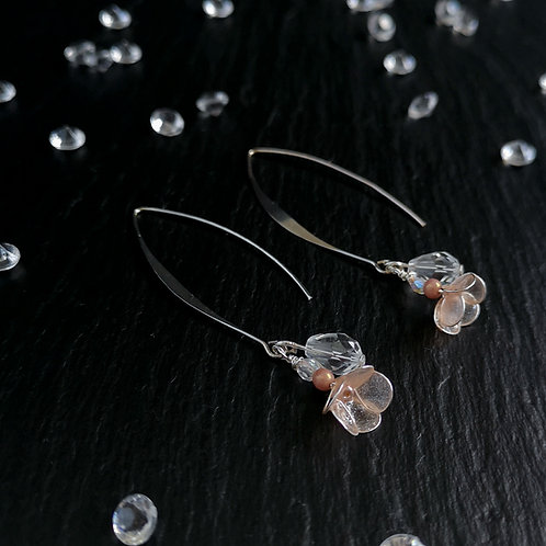 Blush flowers, crystal and silver drop earring