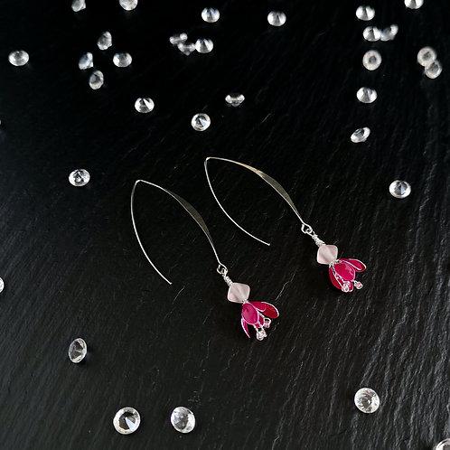 Fuchsia flowers, ear wire, silver drop earring