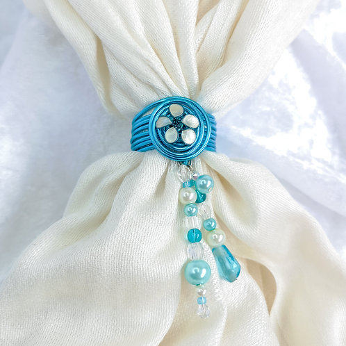 Handmade blue scarf ring with ivory flower, handmade scarf jewel