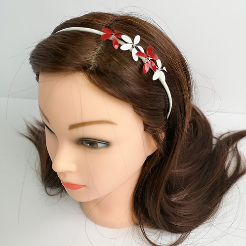 Red and white flowers tiara - Handmade