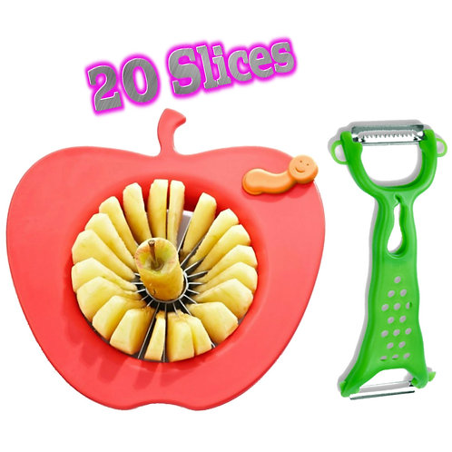 Corer Slicer Peeler and Divider Set Cuts 20 Thin Apple Slices Bonus Peeler