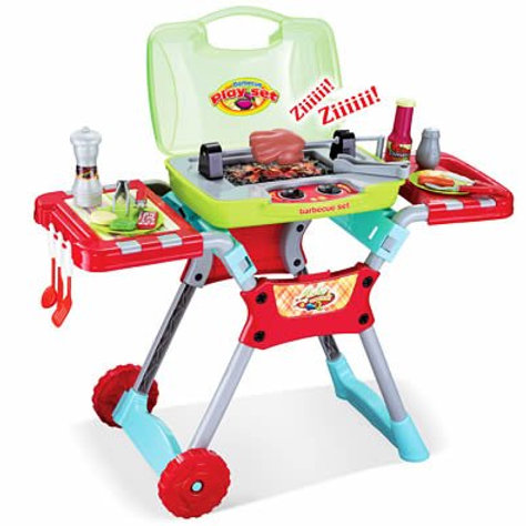 Deluxe Kitchen BBQ Pretend Play Grill Set with Light and Sound