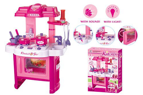 """Deluxe Beauty Kitchen Appliance Cooking Play Set 24"""" With Lights & Sound"""