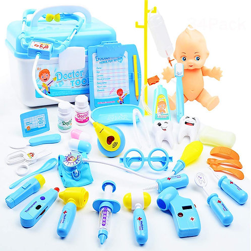 34 Pack Set Kids Doctor Kit Play Toy, Pretend Play Dentist Medical Kit for Kids