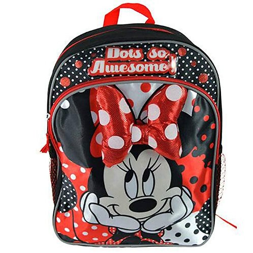 """Kids Minnie Mouse Backpack 14"""" Back Pack with Minnie Mouse Plush Bow"""