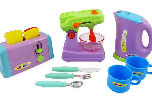 Kitchen Appliances Play Set For Kids - Mixer, Toaster, Kettle, Cups & Utensils S