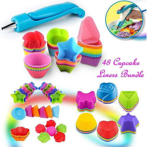 Cupcake Baking Cup Molds Bundle with Icing Pen 48 Nonstick Molds