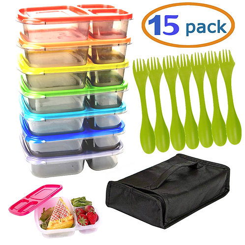 Meal Prep Containers with Lids 7 Reusable & 7 Utensils 3 Compartment