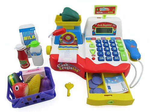 Supermarket Cash Register With Checkout Scanner, Weight Scale, Microphone,