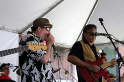 Fenny w rock guitar in tent
