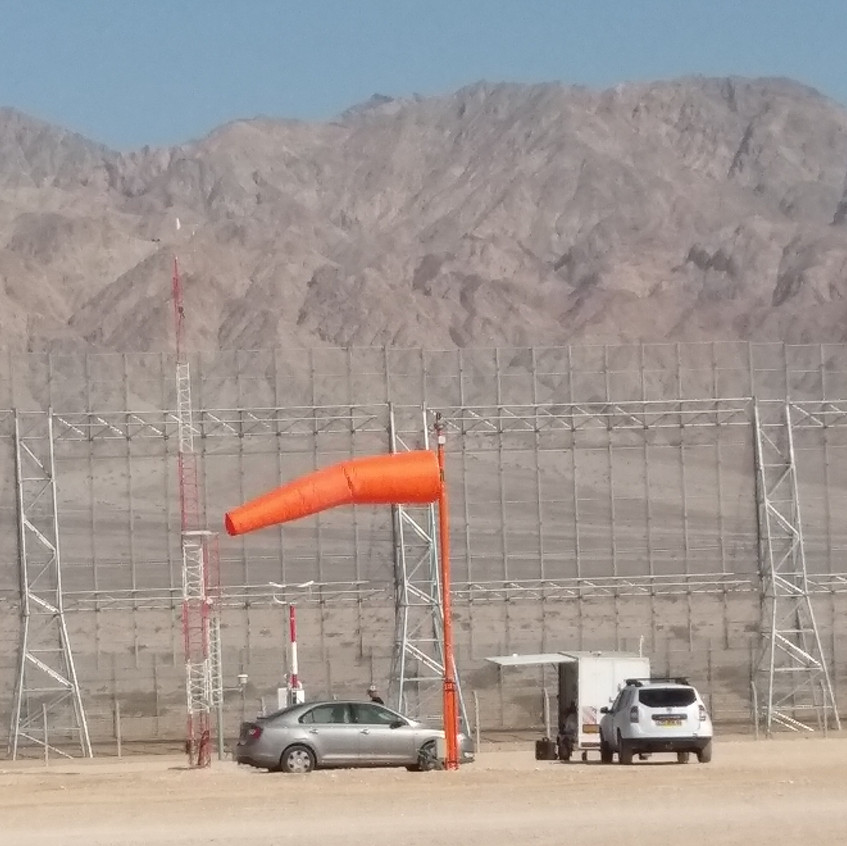 Security fence facing Jordan's Moab  Mountains
