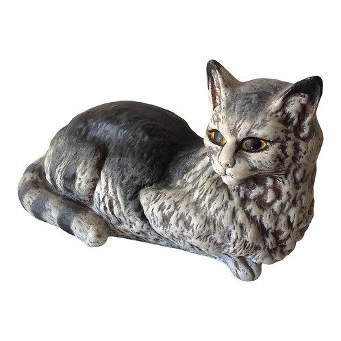 Vintage Ceramic Lounging Cat Figurine