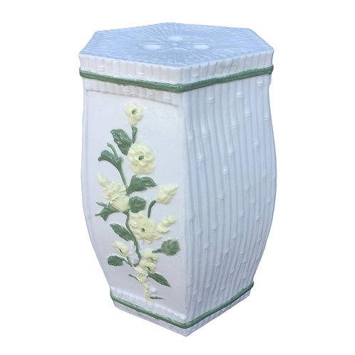 1970s Vintage Hollywood Regency Ceramic Faux Bamboo Garden Stool
