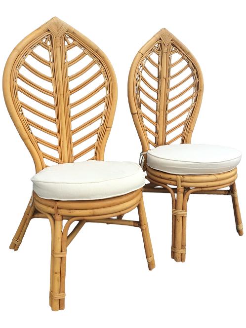 1970s Vintage Rattan Tropical Leaf Back Chairs- A Pair