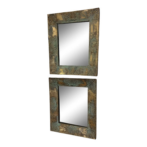 19th Century French Brass Repouse Mirrors - a Pair