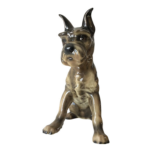 Vintage Ceramic Mini Schnauzer/Scottish Terrier Dog Figurine