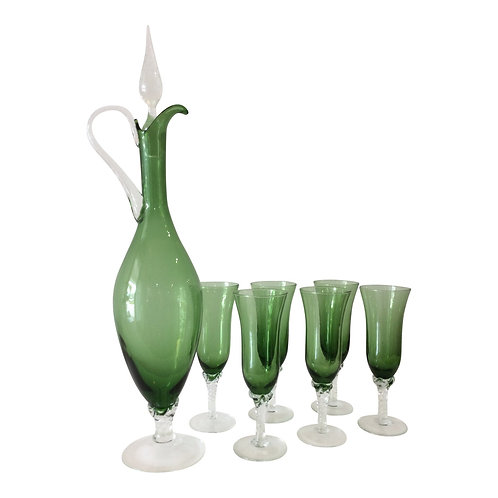 Emerald Green Flame Thrower Carafe With 6 Glasses